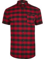River Island Mens Red check short sleeve muscle fit shirt