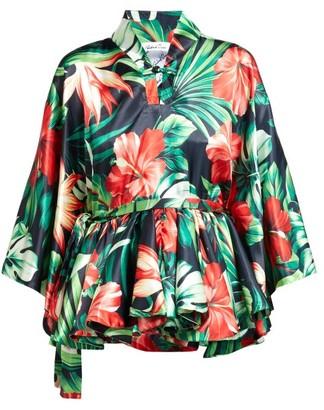 Richard Quinn Palm-print Silk-satin Top - Womens - Green Multi