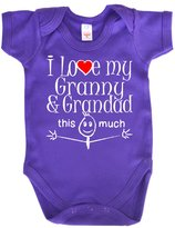 Dirty Fingers, I Love my Granny Grandad this much, Novelty Baby Bodysuit, 6-12m