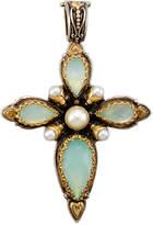 Konstantino Amphitrite Teardrop Agate & Pearl Cross Pendant Enhancer
