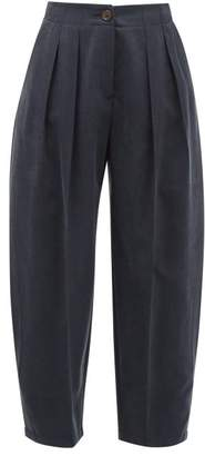 See by Chloe Pleated Cropped Twill Trousers - Womens - Dark Navy