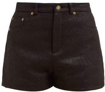 Saint Laurent Metallic Wool Blend Tweed Lame Shorts - Womens - Black