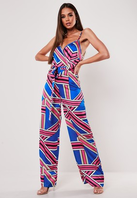 Missguided Blue Satin Printed Graphic Cami Wrap Jumpsuit