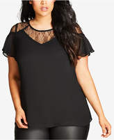 City Chic Trendy Plus Size Illusion-Lace Top