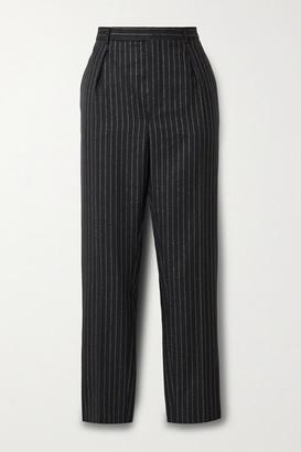 Saint Laurent Cropped Metallic Pinstriped Wool-blend Twill Straight-leg Pants - Black