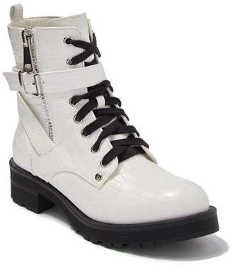 Mia Marcell Alligator Embossed Lace-Up Combat Boot