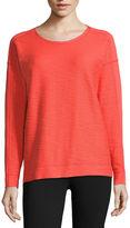 Liz Claiborne Long-Sleeve Blocked-Texture Cotton Sweatshirt