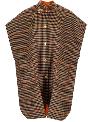 Burberry Double-Faced Check Wool Cape