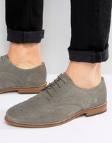 Asos Brogue Shoes In Gray Suede