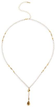 Chan Luu 18K Goldplated, 3-4.5MM Pearl & Mystic Labradorite Lariat Necklace