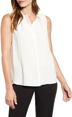Anne Klein Sleeveless Mandarin Collar Front Pleat Top