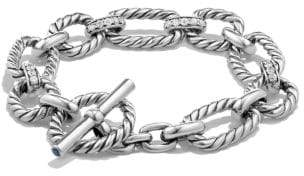 David Yurman Cushion Link Bracelet With Diamonds