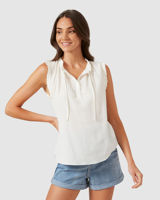 French Connection Ruffle Detail Sleeveless Shirt