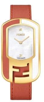 Fendi Chameleon Diamond Goldtone Leather Strap Watch
