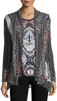 Alberto Makali Printed Cardigan & Top Set, Gray