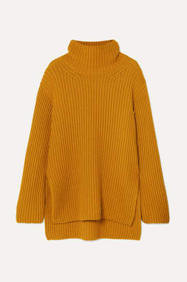 ARJÉ - Oversized Wool, Silk And Cashmere-blend Turtleneck Sweater - Saffron