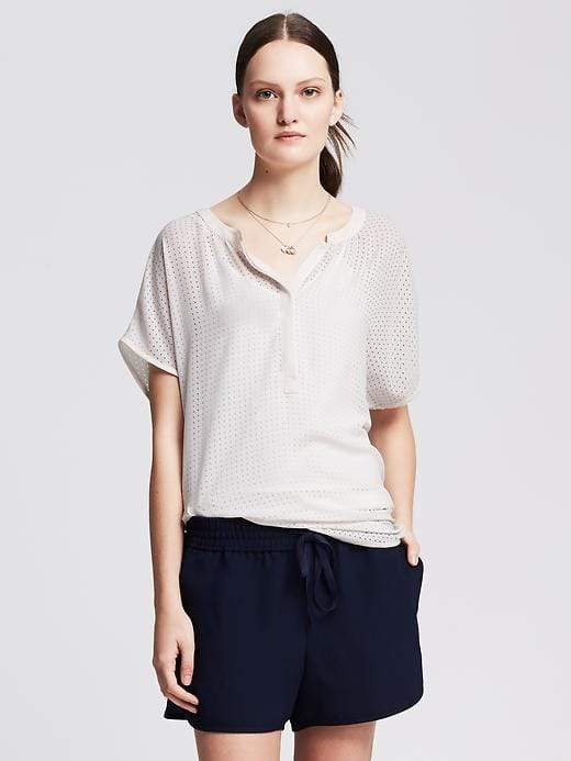 Banana Republic Perforated Drapey Popover Blouse