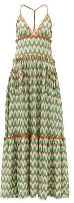 Missoni Chevron-stripe Lace-knitted Maxi Dress - Dark Green