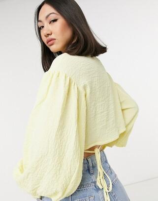 Lost Ink crinkle wrap shirt in lemon drop