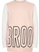 River Island Girls pink block print sweatshirt