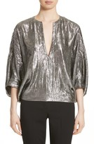 Michael Kors Women's Silk Blend Lame Blouse