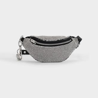 Alexander Wang Attica Soft Mini Fanny Crossbody Bag In White Rhinestones And Mesh