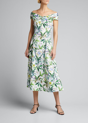 Jason Wu Collection Off-The-Shoulder Printed Cotton Poplin Dress