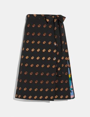Coach Print Wrap Skirt
