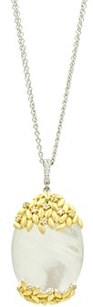 Freida Rothman Fleur Bloom Oval Pendant Statement Necklace in 14K Gold-Plated & Rhodium-Plated Sterling Silver, 27