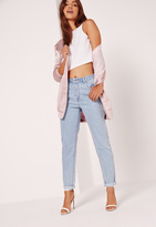 Missguided High Rise Mom Jeans Pink Stitch Mid Wash Blue