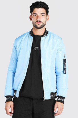 boohoo Mens Blue Bomber With MAN Rib, Blue