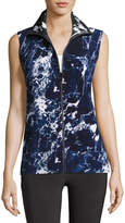 Norma Kamali Sleeveless Reversible Marble-Printed Turtle Jacket