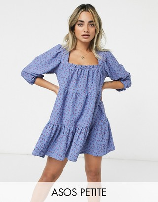 ASOS DESIGN Petite square neck mini smock dress with tiers in blue floral print
