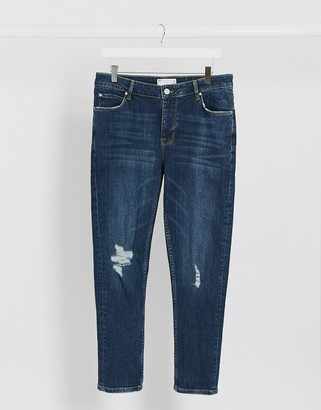 ASOS DESIGN cropped skinny jeans in dark wash blue with knee rips
