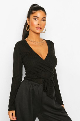 boohoo Petite Soft Knit Rib Belted Wrap Bodysuit
