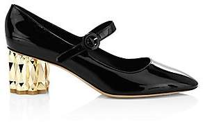 Salvatore Ferragamo Women's Ortensia Faceted-Heel Patent Leather Mary Janes