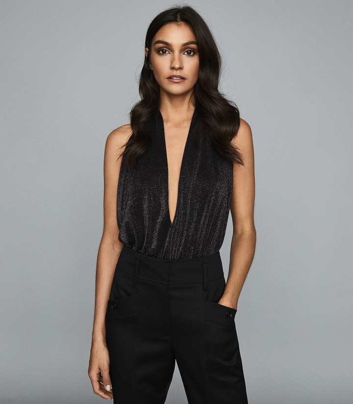Reiss CLEONA METALLIC HALTERNECK BODYSUIT Black