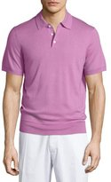 Neiman Marcus Short-Sleeve Cashmere-Blend Polo Shirt, Pink