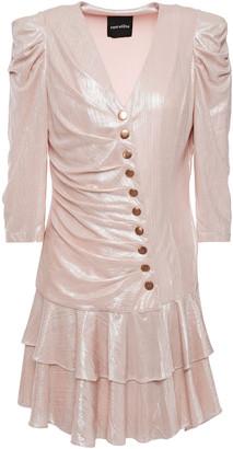 retrofete Cassidy Pleated Lame Mini Dress