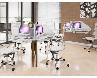 Manhattan Comfort Bradley 2-Piece Cubicle Section Desk with Keyboard Shelf