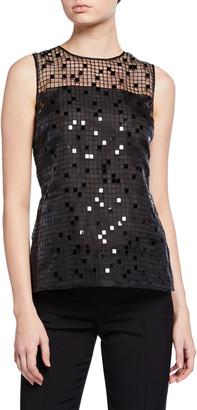 Akris Sequin Embroidered Mesh Sleeveless Blouse