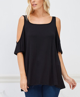 Bellino Black Shoulder-Cutout Top