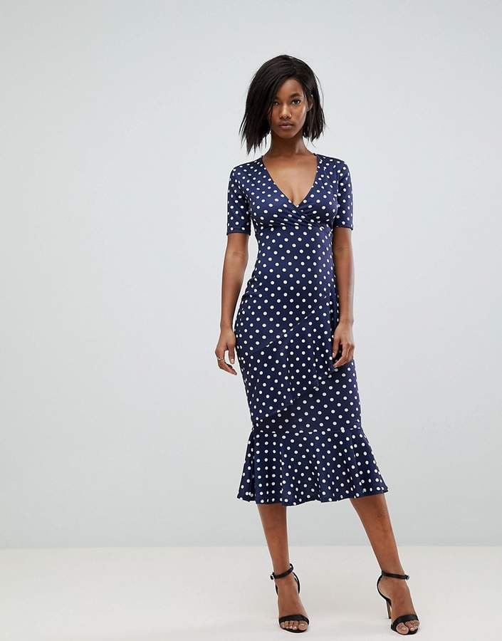Club L London Polka Dot Short Sleeve V Wrap Front Dress
