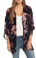 Hinge Women's Burnout Floral Velvet Kimono