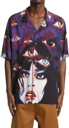 Rhude Eye Print Short Sleeve Button-Up Camp Shirt