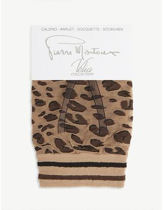 Pierre Mantoux Rene leopard-pattern mesh ankle socks
