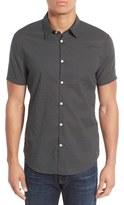 John Varvatos Trim Fit Dot Print Short Sleeve Sport Shirt