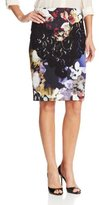 Collection Women's Royal Flowers Print Combo Pencil Skirt