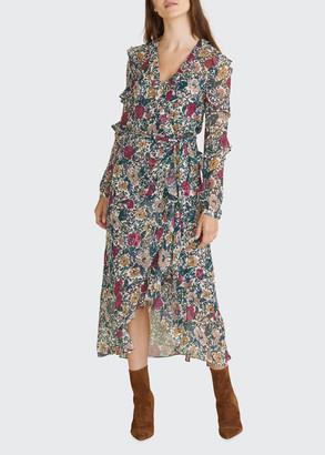 Veronica Beard Anoki Belted Floral-Print Midi Dress