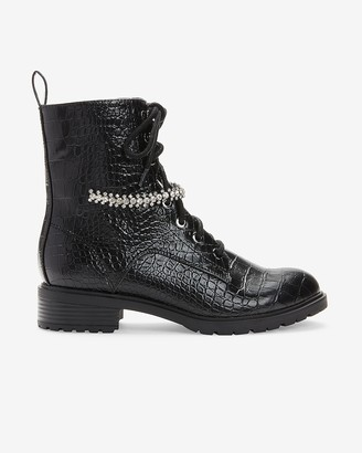 Express Gemstone Strap Croc-Embossed Combat Boots